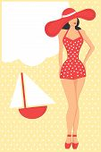 woman in retro red swimsuit