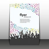 Flyer or Cover Design - Party Time - Dotted Background with Hands