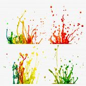 Colored splashes in abstract shape on white background