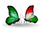 Two Butterflies With Flags On Wings As Symbol Of Relations Saudi Arabia And Tajikistan