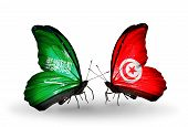 Two Butterflies With Flags On Wings As Symbol Of Relations Saudi Arabia And Tunisia