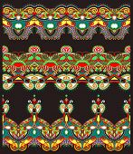 ethnic floral paisley stripe pattern, border set