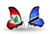 Two Butterflies With Flags On Wings As Symbol Of Relations Lebanon And Botswana