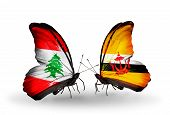 Two Butterflies With Flags On Wings As Symbol Of Relations Lebanon And Brunei
