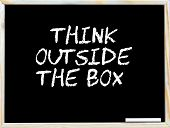 pic of thinking outside box  - Think Outside the Box vintage chalk text on blackboard white piece of chalk in the corner Business Vision conceptual image - JPG