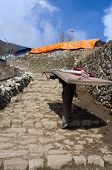 Porter carry heavy load in Namche Bazar , Nepal