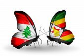 Two Butterflies With Flags On Wings As Symbol Of Relations Lebanon And Zimbabwe