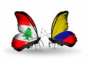 Two Butterflies With Flags On Wings As Symbol Of Relations Lebanon And Columbia