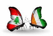Two Butterflies With Flags On Wings As Symbol Of Relations Lebanon And Cote Divoire