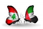 Two Butterflies With Flags On Wings As Symbol Of Relations Lebanon And United Arab Emirates