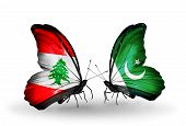 Two Butterflies With Flags On Wings As Symbol Of Relations Lebanon And Pakistan