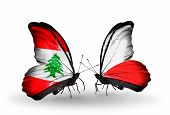 Two Butterflies With Flags On Wings As Symbol Of Relations Lebanon And Poland
