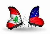Two Butterflies With Flags On Wings As Symbol Of Relations Lebanon And Samoa