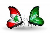 Two Butterflies With Flags On Wings As Symbol Of Relations Lebanon And Saudi Arabia