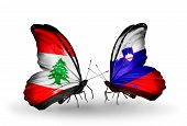 Two Butterflies With Flags On Wings As Symbol Of Relations Lebanon And Slovenia