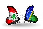 Two Butterflies With Flags On Wings As Symbol Of Relations Lebanon And Solomon Islands