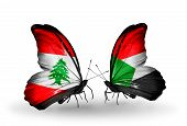 Two Butterflies With Flags On Wings As Symbol Of Relations Lebanon And Sudan