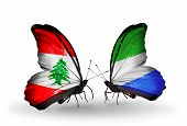 Two Butterflies With Flags On Wings As Symbol Of Relations Lebanon And Sierra Leone