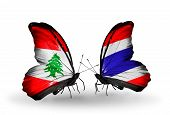 Two Butterflies With Flags On Wings As Symbol Of Relations Lebanon And Thailand