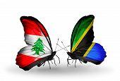 Two Butterflies With Flags On Wings As Symbol Of Relations Lebanon And Tanzania