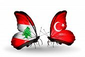 Two Butterflies With Flags On Wings As Symbol Of Relations Lebanon And Turkey