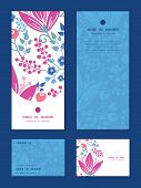 Vector pink flowers vertical frame pattern invitation greeting, RSVP and thank you cards set