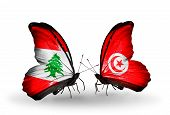 Two Butterflies With Flags On Wings As Symbol Of Relations Lebanon And Tunisia