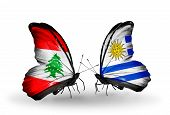 Two Butterflies With Flags On Wings As Symbol Of Relations Lebanon And Uruguay