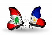 Two Butterflies With Flags On Wings As Symbol Of Relations Lebanon And Philippines