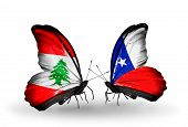 Two Butterflies With Flags On Wings As Symbol Of Relations Lebanon And Chile