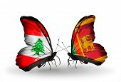 Two Butterflies With Flags On Wings As Symbol Of Relations Lebanon And Sri Lanka