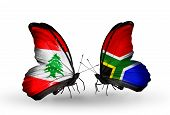 Two Butterflies With Flags On Wings As Symbol Of Relations Lebanon And South Africa