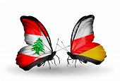 Two Butterflies With Flags On Wings As Symbol Of Relations Lebanon And South Ossetia