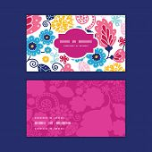 Vector fairytale flowers horizontal frame pattern business cards set