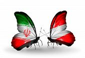 Two Butterflies With Flags On Wings As Symbol Of Relations Iran And Austria