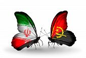 Two Butterflies With Flags On Wings As Symbol Of Relations Iran And Angola