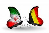 Two Butterflies With Flags On Wings As Symbol Of Relations Iran And Belgium