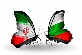 Two Butterflies With Flags On Wings As Symbol Of Relations Iran And Bulgaria