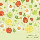 Vector fresh salad horizontal frame seamless pattern background