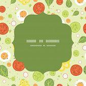 Vector fresh salad circle frame seamless pattern background