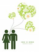 Vector green and golden garden silhouettes couple in love silhouettes frame pattern invitation greet