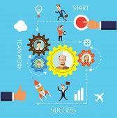 Start-up flat design illustration blue background