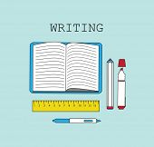 Writing pan and notebook line flat vector illustration