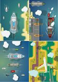 Transport ships and planes set of vector images.