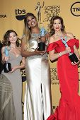LOS ANGELES - JAN 25:  Kimiko Glenn, Laverne Cox, Alysia Reiner at the 2015 Screen Actor Guild Awards at the Shrine Auditorium on January 25, 2015 in Los Angeles, CA