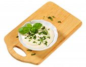 Mayo-Sour Cream Dressing with chopped parsley