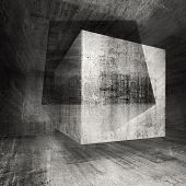 Dark Concrete Room 3D Background Illustration With Cubes