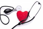 Stethoscope, red heart and hemopiezometer