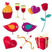 Saint Valentine's Day objects set.