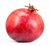 Ripe Red Pomegranate Isolated on the White Background